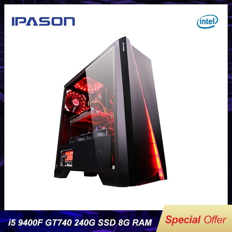 IPASON игровой пк Intel i5 8400 обновление 9400F/GT740 LOL игры/офисные настольные компьютеры интернет собранный компьютер PC полный набор машина