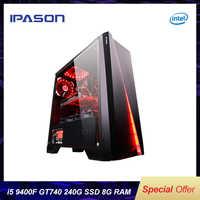 IPASON gaming PC Intel i5 8400 atualização 9400F/GT740 LOL Gaming/escritório desktops Internet computadores montados conjunto completo máquina