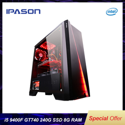 IPASON gaming PC Intel i5 8400 upgrade 9400F/GT740 LOL Gaming/Büro Desktops Internet Montiert Computer PC volle set maschine