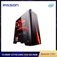 IPASON gaming PC Intel i5 8400 upgrade 9400F/GT740 LOL Gaming/Office Desktops Internet Assembled Computer PC full set machine