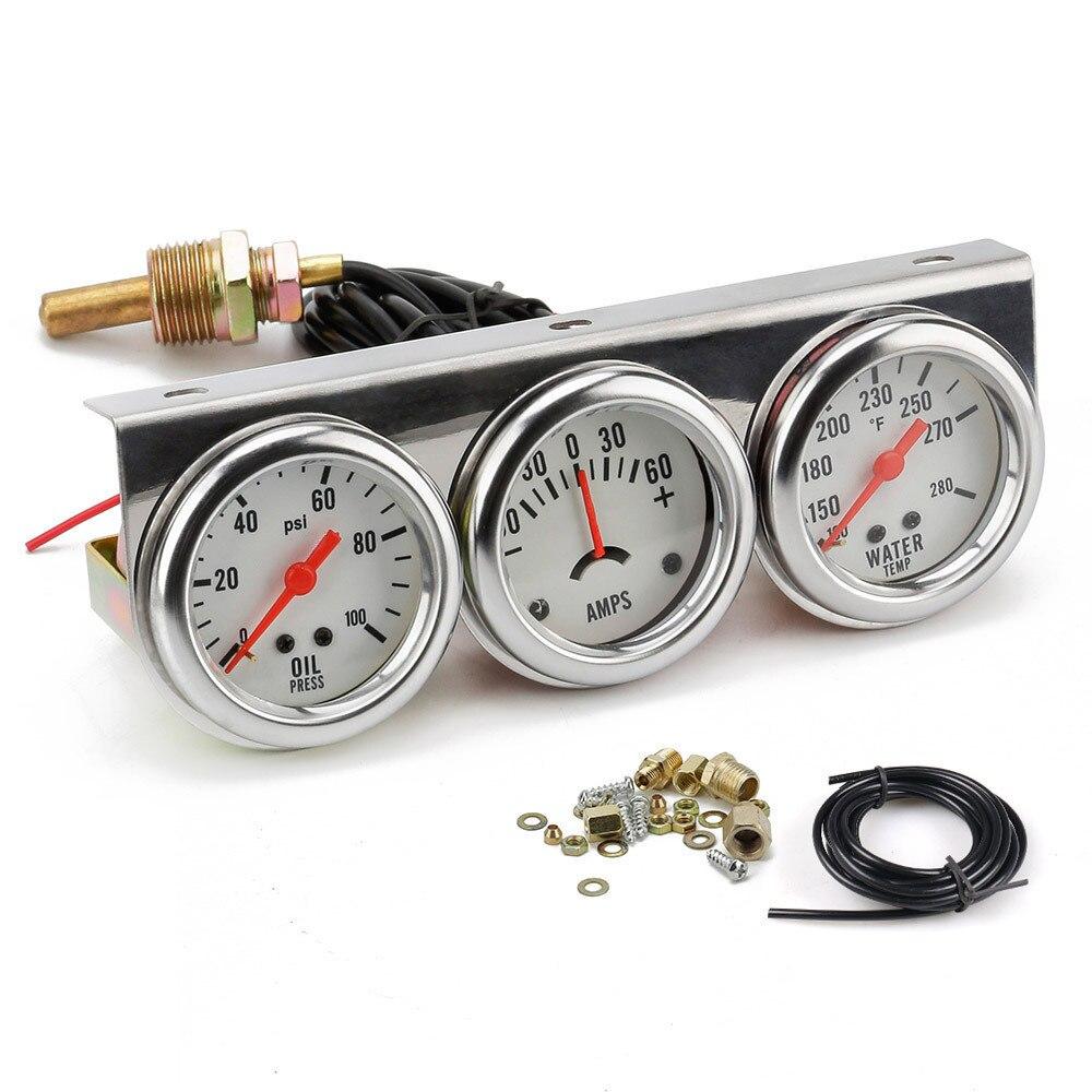 52mm Car Triple Gauge Kit Volts Water Temp Celsius / Fahrenheit Oil Press KG / PSI 3 In 1 Kit Chrome Meter White Dial