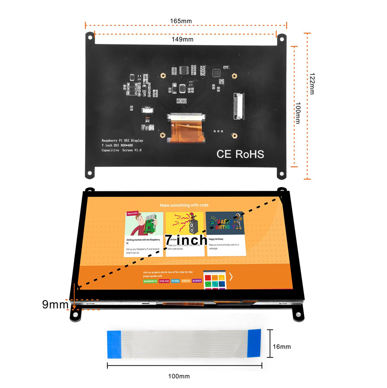 4 2 3 OSOYOO 7 Inch DSI Touch Screen LCD Display 800x480 for Raspberry Pi 4 3 3B+ 2 (5)