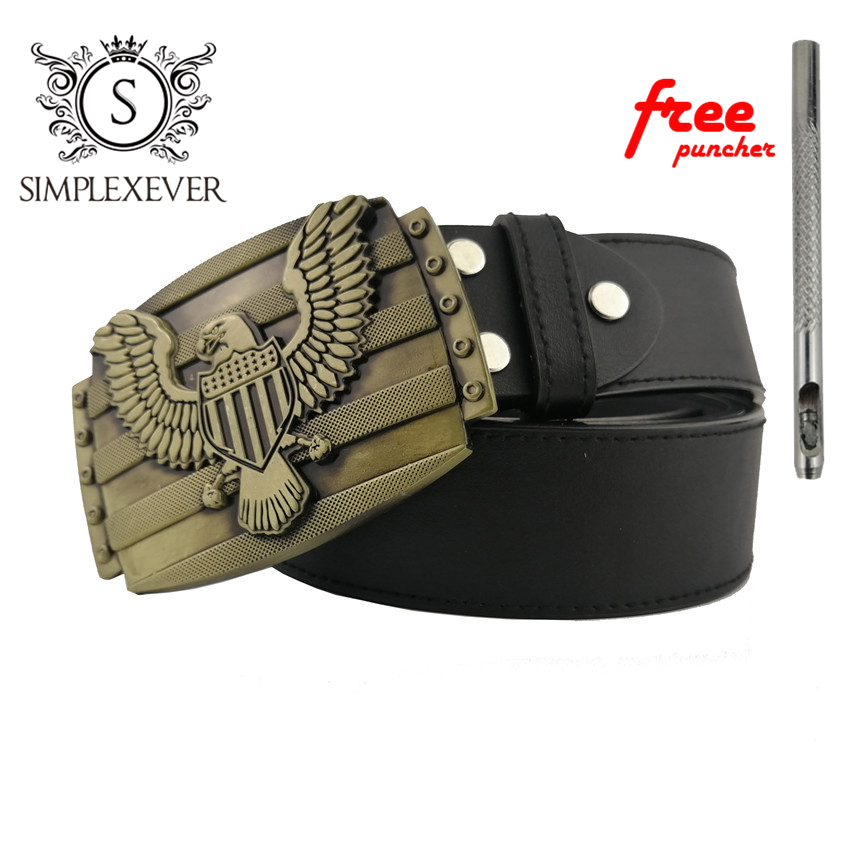 Men Jeans Accessories Solid Brass Belt Buckle Belts With Mens Belt Buckle Head As Cowboy's New Year Gift