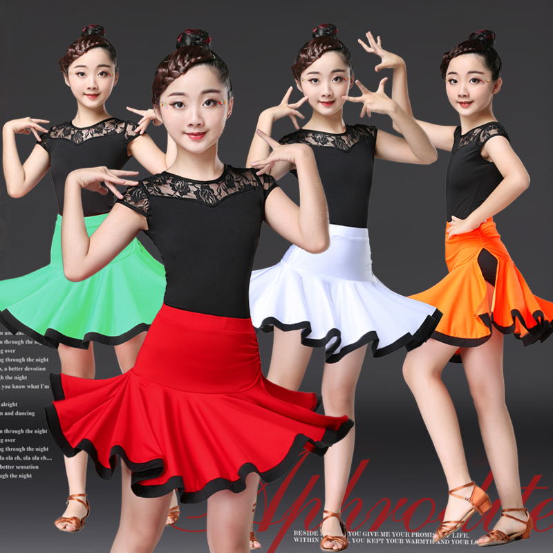 Summer Girls Latin Dance Costumes Children Latin Dance Skirts Practice Clothes Competition Clothes Girls Latin Dance Clothes
