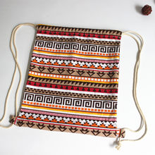 Women 2020 Fabric Female Gypsy Bohemian Boho Chic Aztec Ibiza Tribal Ethnic Ibiza Brown Drawstring Rucksack Bags(China)