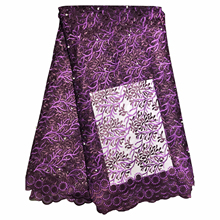 African Material Beaded Lace Fabric For Wedding Purple French Lace Fabric 2019 High Quality Lace Material