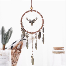 Retro Alloy Feathers Handmade Dream Cathcer Elk Craft Aerial Hanging Indoor Decoration kids room decoration gift for Student
