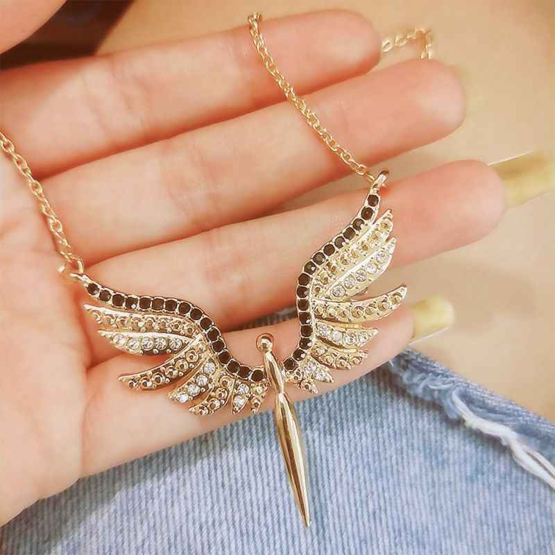 Biżuteria Drop Shipping Vintage złota cyrkonia jasne kryształowe skrzydła anioła naszyjniki dla kobiet kołnierz Colar prezent dziewczyna biżuteria UJ