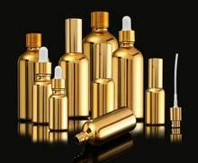 15Pcs 10-100Ml Galvaniseren Goud Glas Etherische Olie Flessen Cosmetische Serum Lotion Pomp Verstuiver Spray Fles Dropper fles