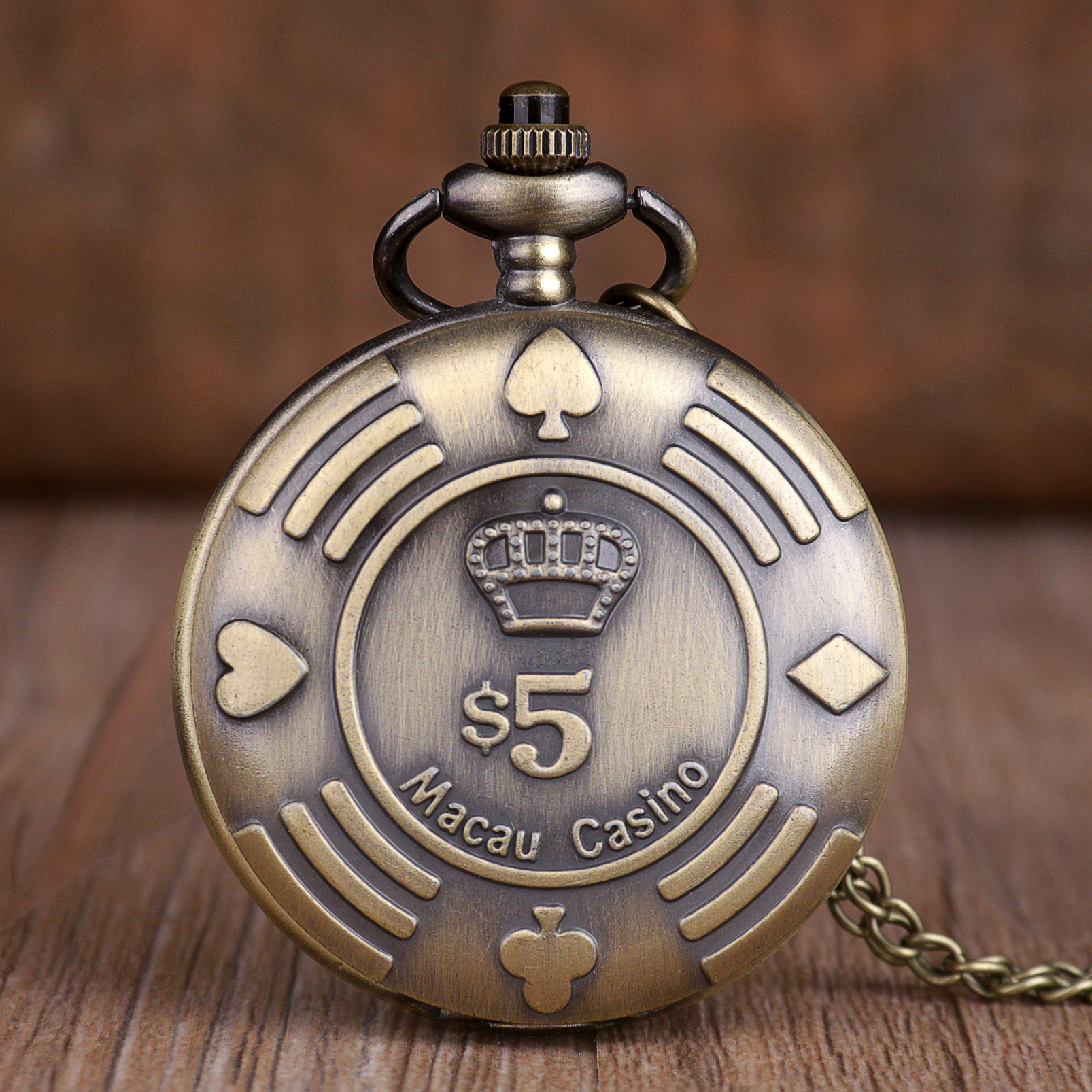 New Retro Casino Chip Money Poker Design Quartz Pocket Watch Necklace Chain Pocket Watches Souvenir Gifts For Mens Womens