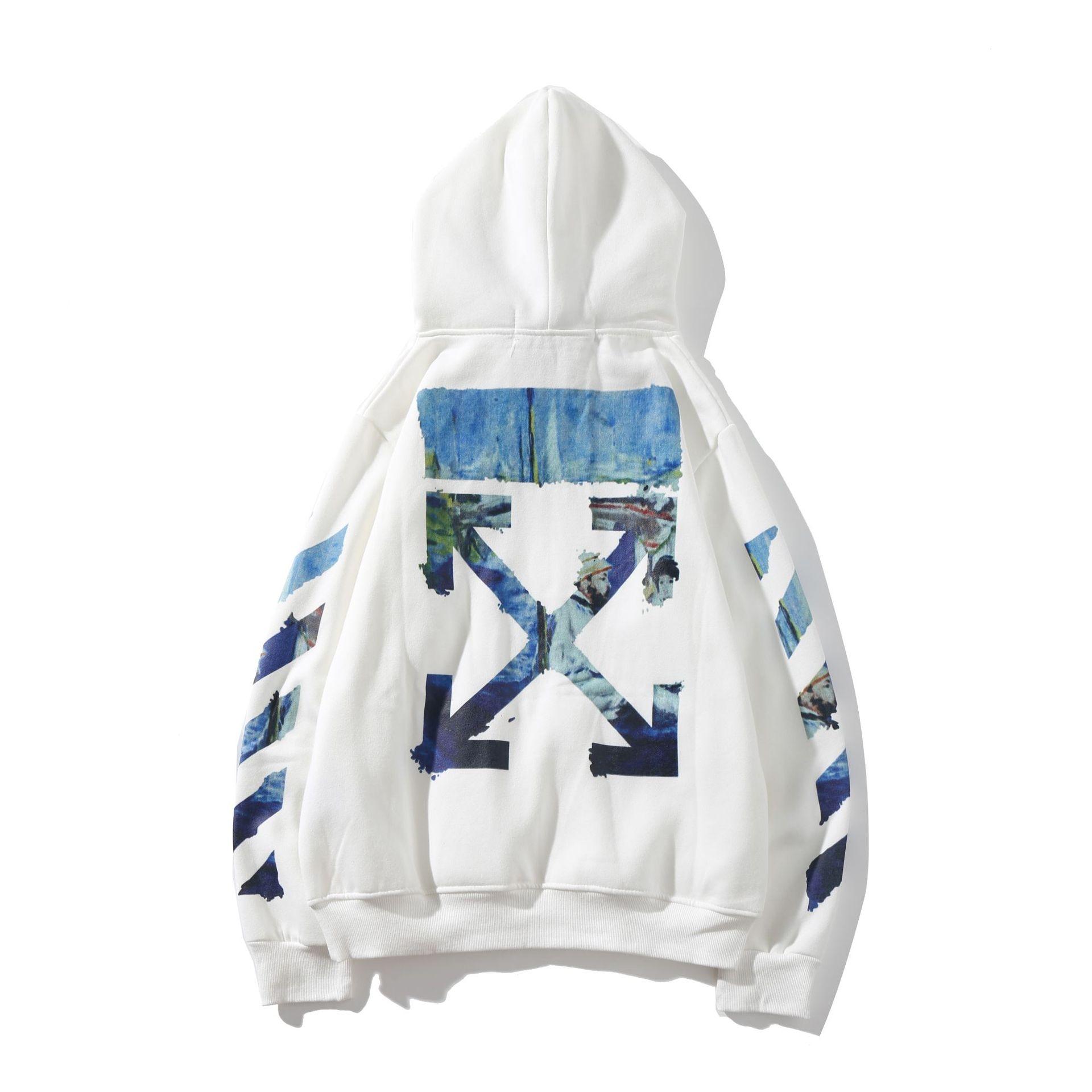 Off Ow White Graffiti Oil Painting Arrowhead Zipper Hoodie Popular Brand Men And Women Couples Men's Sweatshirts & Hoodies Plus