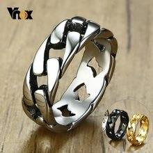 Vnox élégant anneau de chaîne à maillons fixes pour hommes de haute qualité en acier inoxydable bandes masculines cadeau Unique pour lui