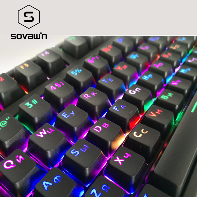 SOVAWIN Keyboard 104 Key Keycaps Durable Russian Keyboard Key Cap For Mechanical Keyboard Light Transmission Keycaps Key Cap New
