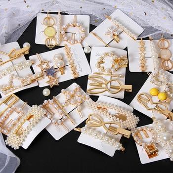 New 3PCS/Set Fashion Pearls Hairpins Geometric Hair Clips for Women Girls Headband Sweet Barrettes Accessories Set