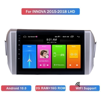 9 Inch 2 Din Android 10.0 Car MP5 Player Radio 2+16GB Wifi Bluetooth GPS Navigation for Toyota Innova 2015-2018 LHD image