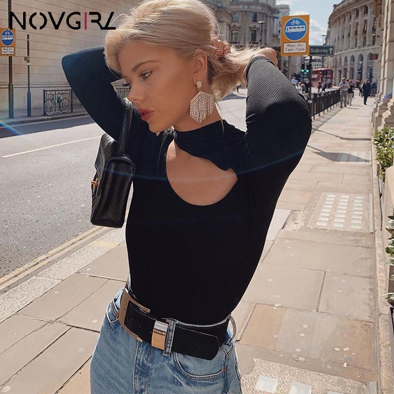 Novgirl Long Sleeve Turtleneck Hollow Out Skinny Jumpsuit Women 2019 Autumn Cut Elastic Black Bodysuit Festival Party Overalls