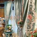 Custom Embroidered Gauze Curtain Curtains Bedroom Balcony Living Room European-style Blue-green Bay Window Curtains