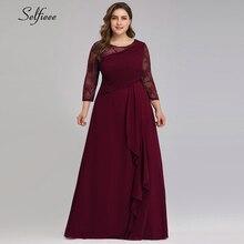 Maxi Dress A-Line Chiffon Party Long Sizes Women 3/4-Sleeve O-Neck Vestidos-De-Verano