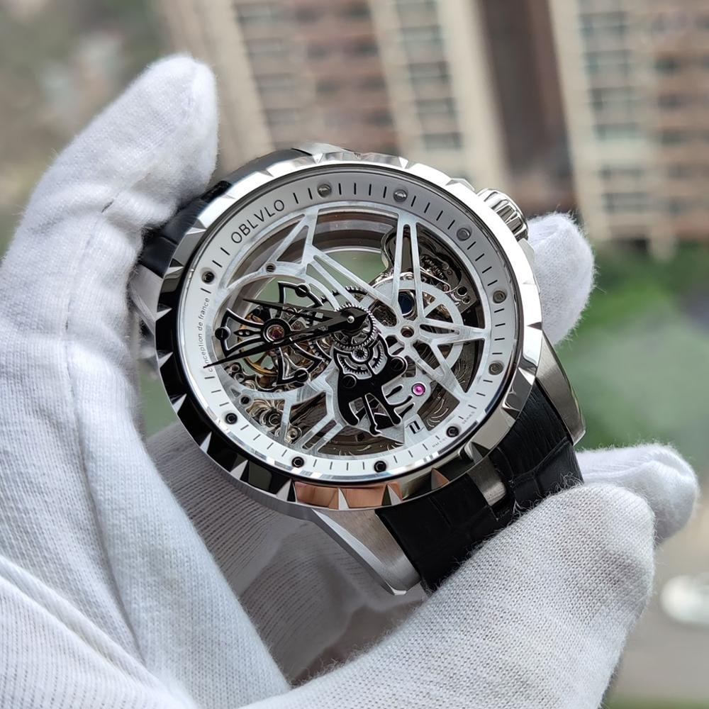 OBLVLO Luxury Open Work Design Mens Watches Skeleton Dial Calfskin Strap Watch Automatic Movement Waterproof Montre Homme RM-1 1