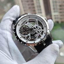 OBLVLO Luxury Open Work Design męskie zegarki szkieletowa tarcza pasek z cielęcej skóry zegarek mechanizm automatyczny wodoodporny Montre Homme RM-1