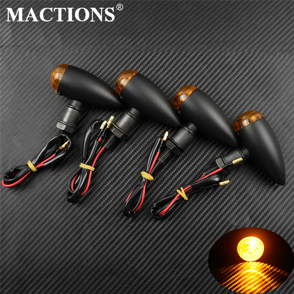 Motorcycle Bullet Turn Signals Indicators Blinker Lights Lamp Black Chrome For Harley Sportster XL Cruiser Chopper Cafe Racer