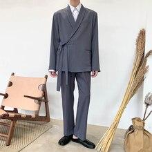 Male Streetwear Fashion Show Blazer Coat Outerwear Trouser Men 2PCS Suits Sets Japan Style Casual Lace Kimono Suit Jacket Pant