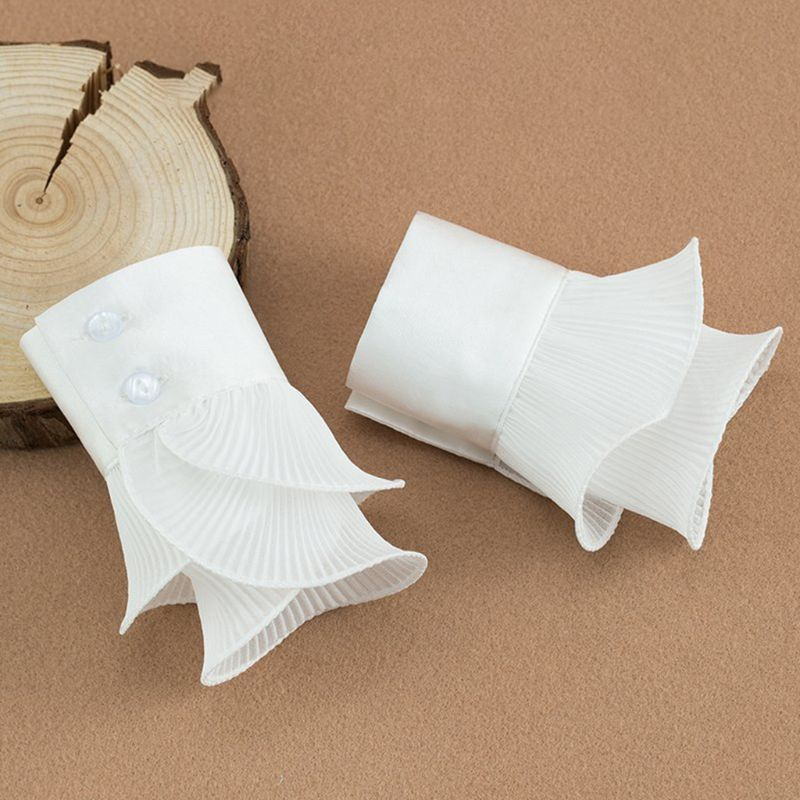 New Detachable Shirt Pleated Flare Sleeve False Cuffs Solid Color Pleated Layered Wristband Decorative Women Clothing Accessory