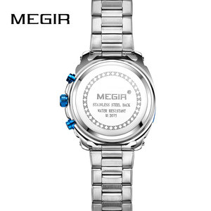 Image 2 - Megir 高品質メンズクロノグラフ腕時計のためのブルーステンレス鋼 Bracelete スポーツ腕時計ボーイのストップウォッチ