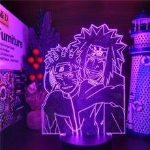 Naruto Jiraiya 3D Anime Lamp LED Nightlights Colors Changing Uzumaki Naruto 3D Visual Lighting For Christmas Gift Bandai
