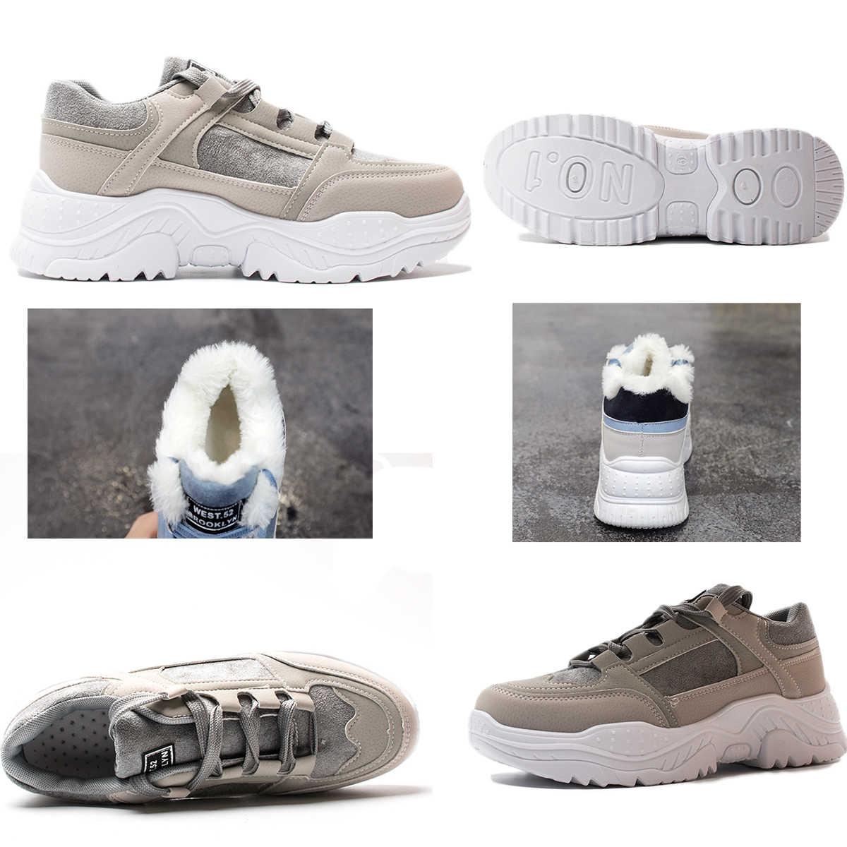Fujin Nữ Giày Thể Thao Mùa Đông Giày Sang Trọng Lông Ấm Nữ Giày Nữ Buộc Dây Giày Bốt Nữ Comrfortable Nền Tảng Giày Nữ