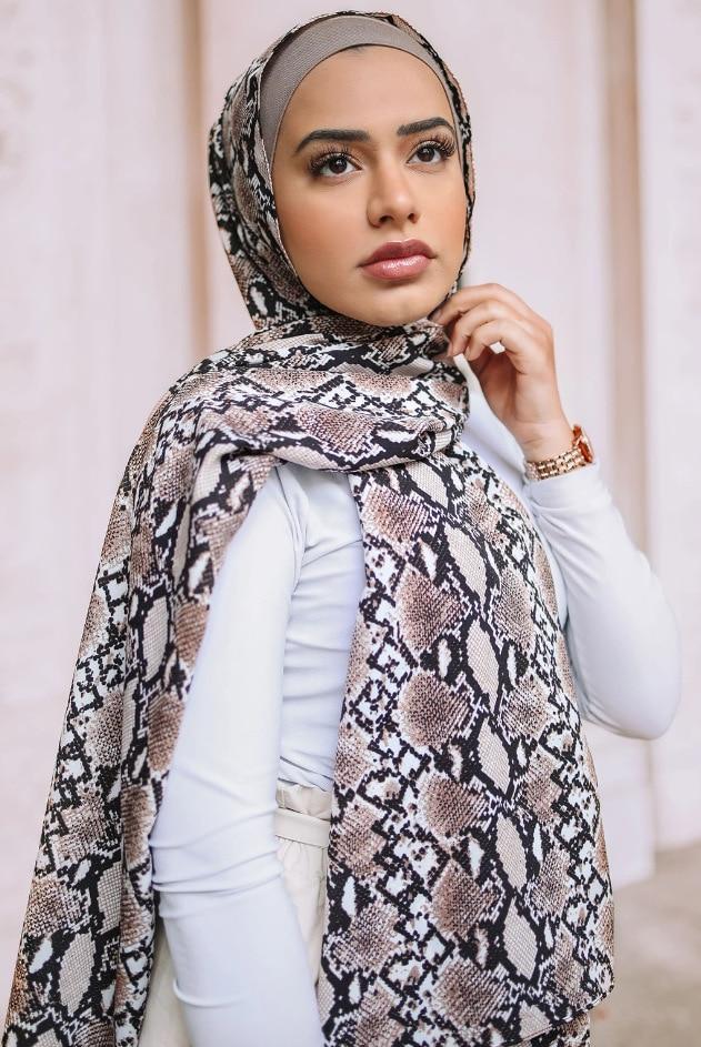 Snake Skin Printing European And American Style Print Long Shawl Tourism Muslim Hiijab Scarf Female Dubai Headscarf Long Wrap