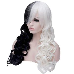 Image 5 - Anogol yepyeni Cruella Deville yan patlama yarım beyaz siyah katmanlı sentetik Cosplay peruk kadınlar için parti cadılar bayramı + peruk kap