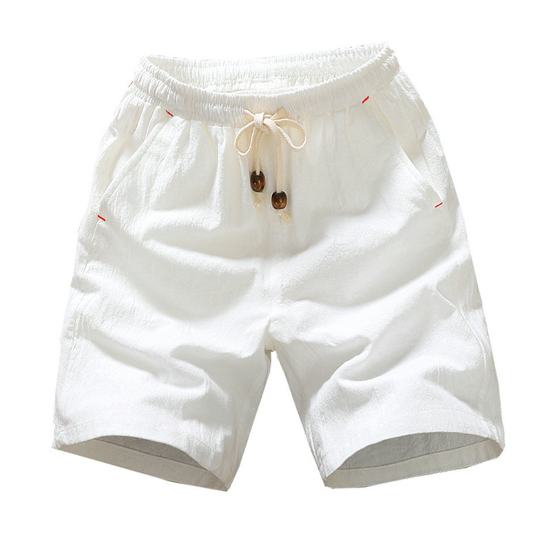 2020 Summer New Cotton Shorts Loose Men's Casual Shorts Black White Drawstring Waist Solid Bermuda Shorts Men Plus Size 4XL 5XL