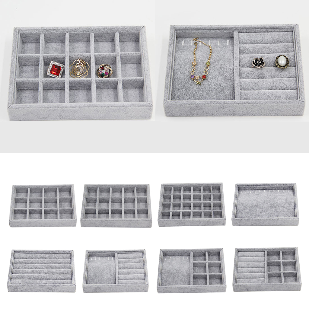 Stackable Velvet Jewelry Tray Earring Necklace Bracelet Ring Organizer Display Storage Box, Gray