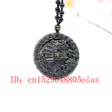 Natural Black Green Jade Obsidian Sailboat Pendant Beads Necklace Fine Jewelry Carved Amulet Fashion Charm Gifts for Women(China)