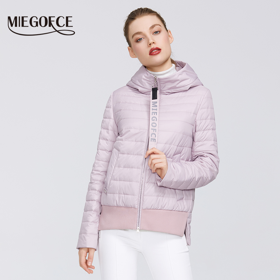 Spring-Women Collection By MIEGOFCE 2020 Cotton Women Spring Jacket Short Length Resistant Collar With  Hood Sports Class Jacket