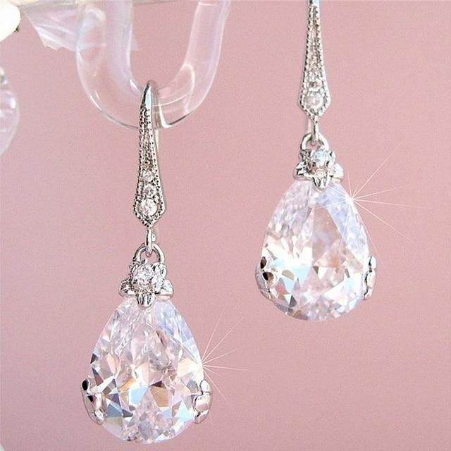 New Classic Pear Shape Cubic Zircon Women Wedding Drop Earrings Silver Color High Quality Female Timeless Earring Jewelry 2