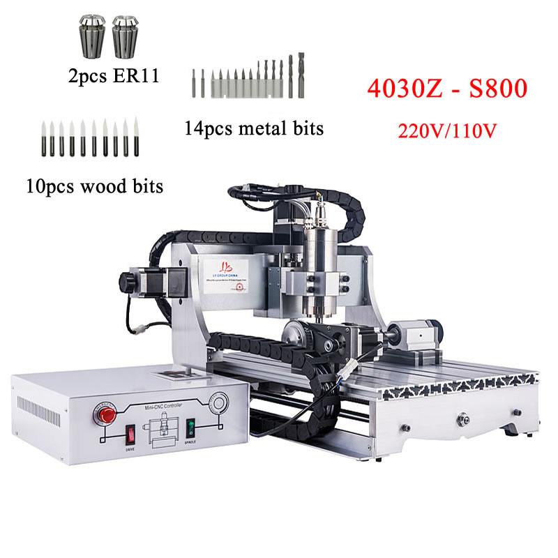 DIY Cnc 3040 Wood-router Metal Cutter Engraving Machine 800w Water-cooled Spindle ER11 Collects Ball Screw With Milling Bits
