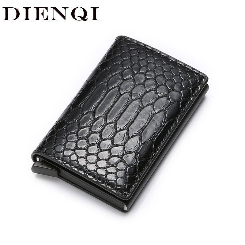 DIENQI Rfid Smart Men Wallets Money Bag Magic Trifold Mini Slim Wallet Male Small Leather Wallet Thin Snake Purses Vallet Walet