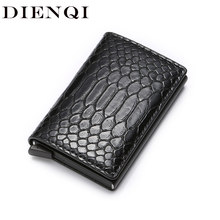 DIENQI Rfid Smart Men Wallets Money Bag Magic Trifold Mini Slim Wallet Male Small Leather Wallet Thin Snake Purses Vallet Walet(China)