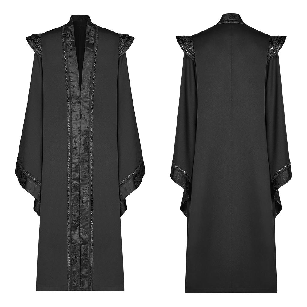 Punk Rave Men Gothic Chinese Style Long Gown Jacket Twill
