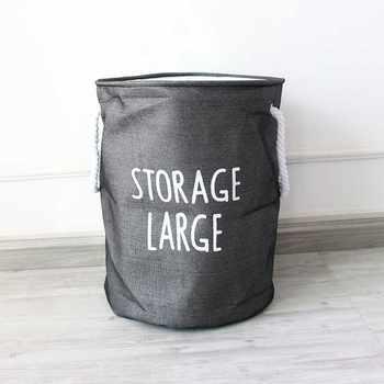 Dust Collection Bucket Hamper Washing Toy Linen Thicken Dirty Clothes Storage Organizer Cotton Denim Cloth Laundry Baskets Bin