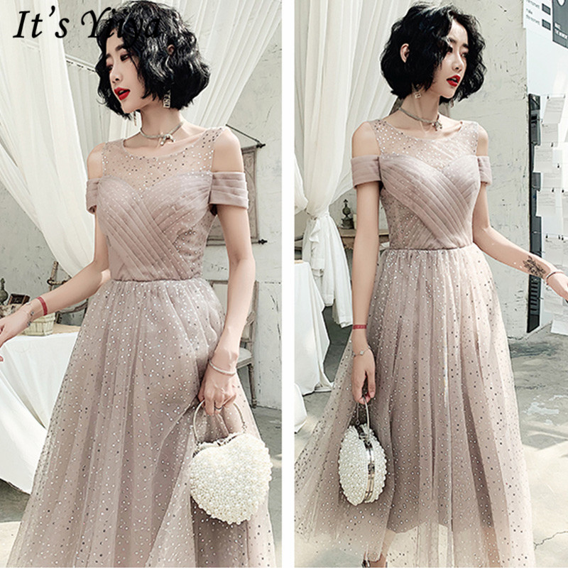 It's Yiiya Sexy   Prom     Dress   Illusion Short Sleeve O-Neck A-Line Vestidos De Gala LF228 Sequined Ruched Short   Prom     Dress