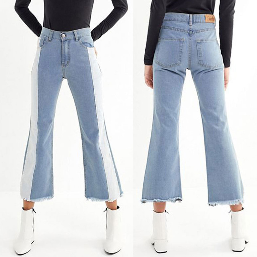 Fashion Women jeans Tassel Splice Button Zipper Pocket Boyfriend jeans for women Patchwork denim Flares Pants Jeans Mujer S10