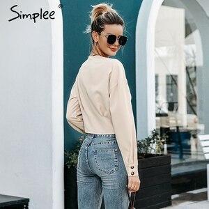 Image 4 - Simplee élégant col en v femmes blouse chemise à manches longues bouton femme chemise haute automne décontracté streetwear dames blouse chemise 2019