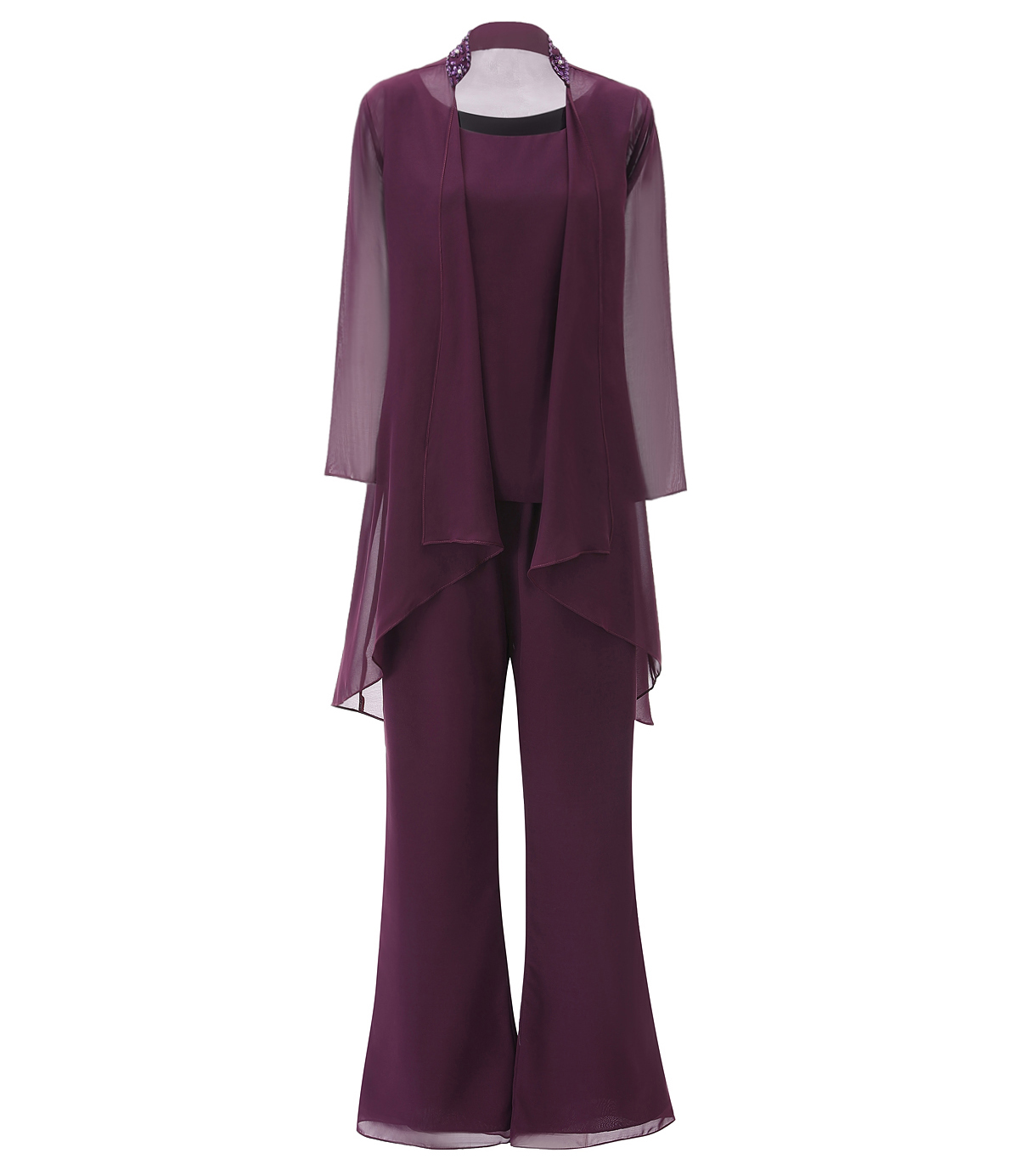 SOLOVEDRESS Fashion Women Chiffon Beading 3 Pieces Mother Of The Bride Dress Pant Suits With Long Sleeves Jacket Outfit  SL-M18