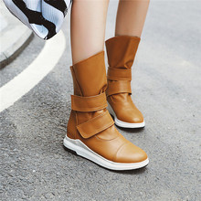 YMECHIC แฟชั่นกลางยาว SHAFT Wedges สีเหลืองสีดำสีฟ้าฤดูหนาวรองเท้าผู้หญิงห่วง Hook Knight รองเท้าบู๊ตหญิง