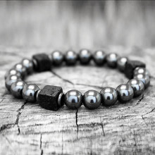 Men Bracelet Natural Matte Stone Hematite Beads Bracelets For Women Vintage Differ Handmade Customized Bracelets Homme 2019 Gift(China)