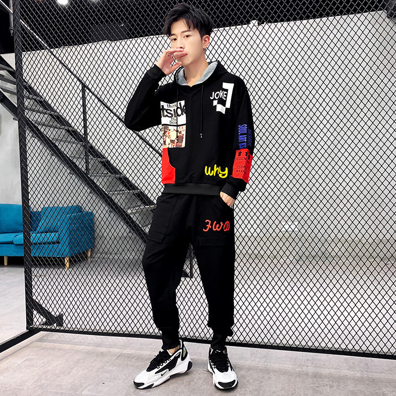 UYUK 2020 Spring Men's Suit With Loose Hoodies Comfortable  Smart Casual Sportswear Trend Homme Masculino Cotton