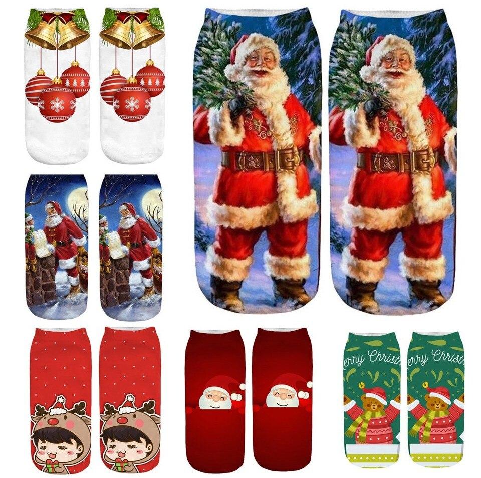 Christmas Socks Funny Casual Work Business Socks 3d Christmas Santa Elk Printing Medium Sports Socks Winter Chaussette Femme Socks Aliexpress